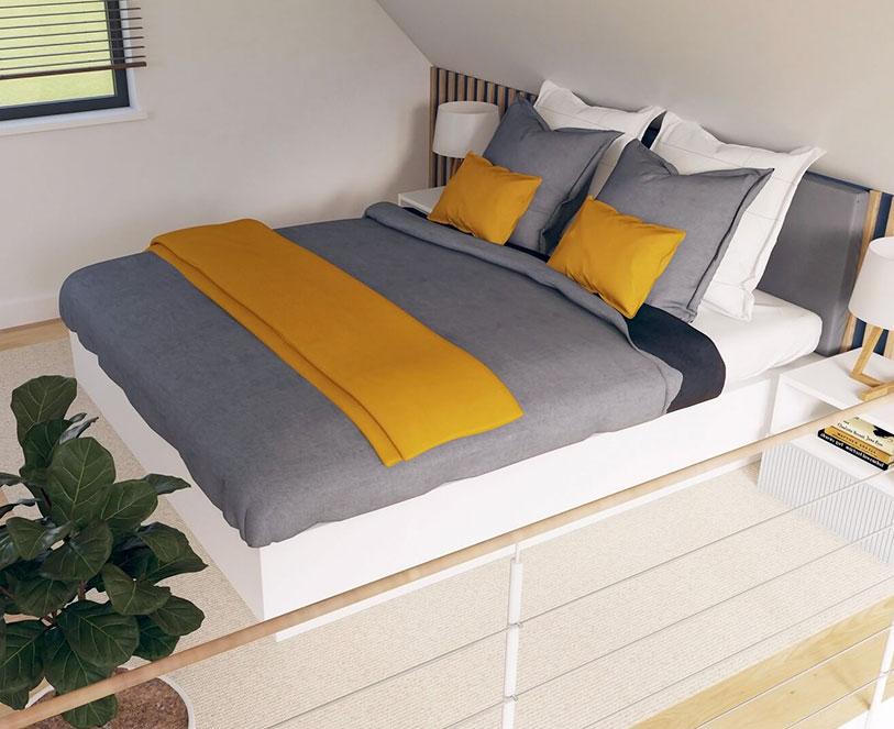 Sypialnia na piętrzę w domku Modulars Cube35