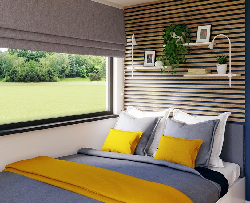 Komfortowa sypialnia w domku modułowym Modulars Cube 35