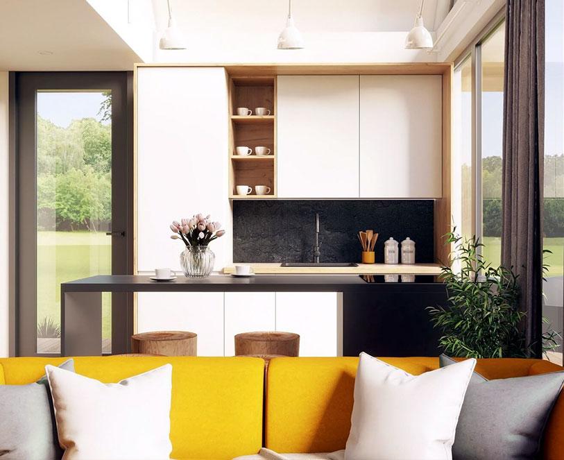 Modulars domek Cube35 - Przepiękna i przestronna nowoczesna kuchnia