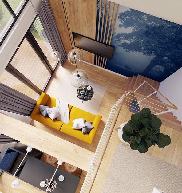 Modulars model Cube 35+ widok z antresoli na salon